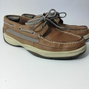 Sperry Top Siders Lanyard Brown Leather Size 8.5